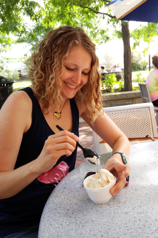 Eating Penn State creamery peanut butter swirl