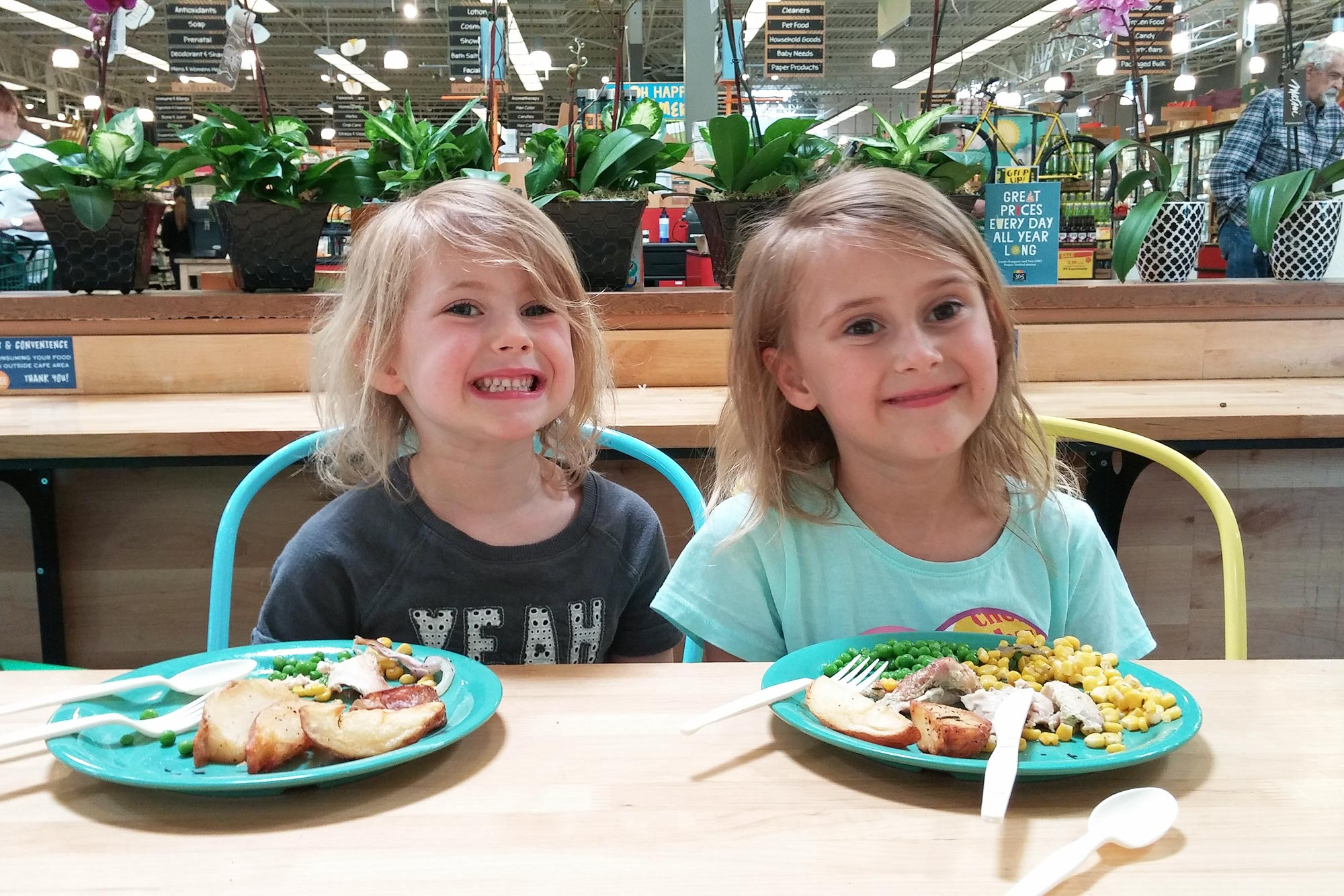 girls eating at Whole Foods