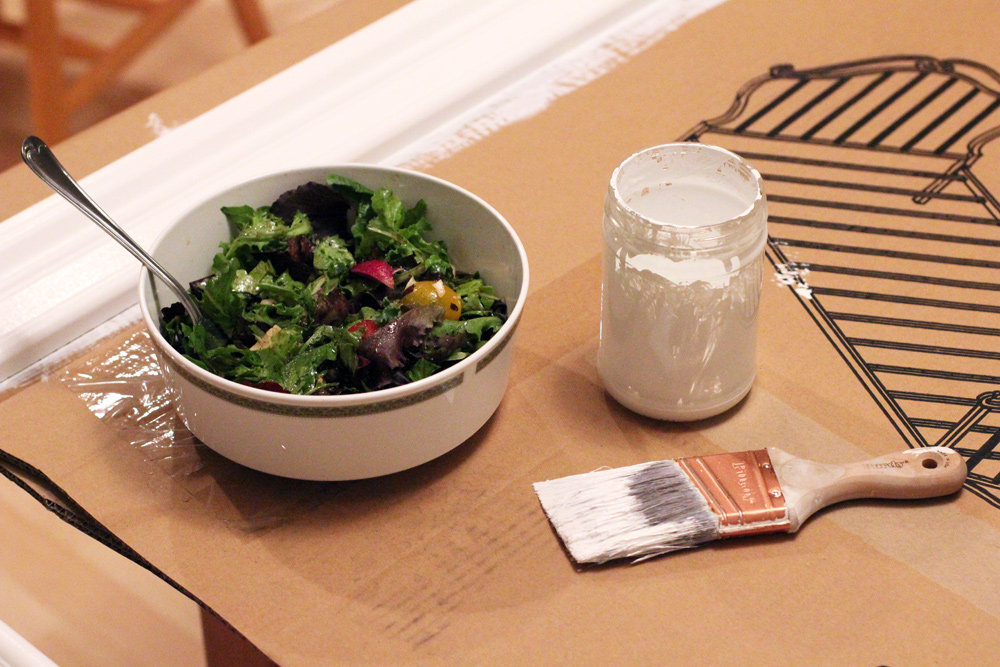 salad while painting