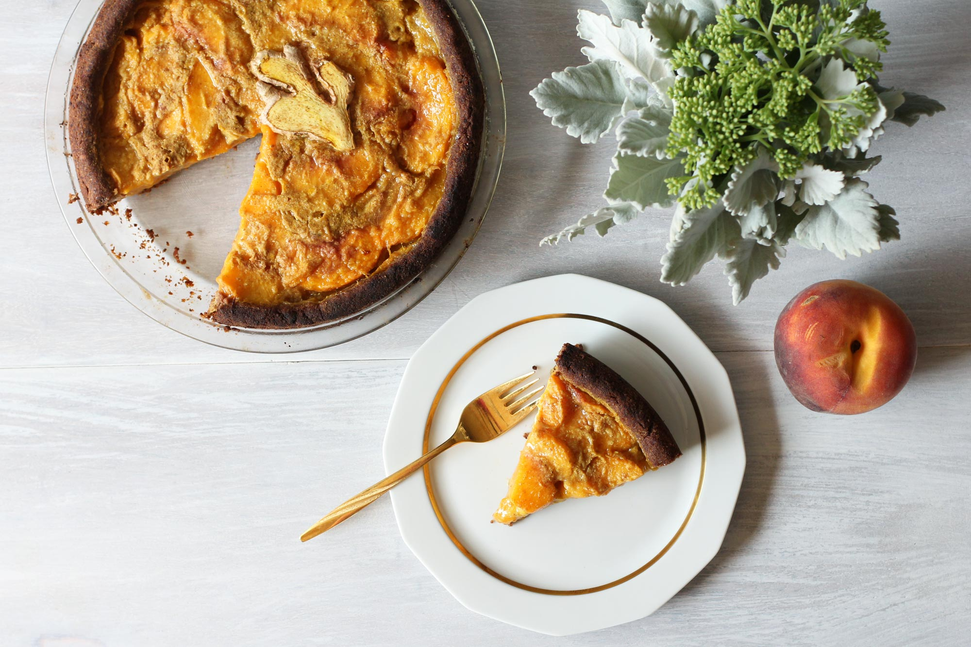 Ginger and Turmeric Peach Pie slice