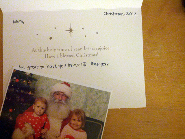 Christmas card with kids and santa