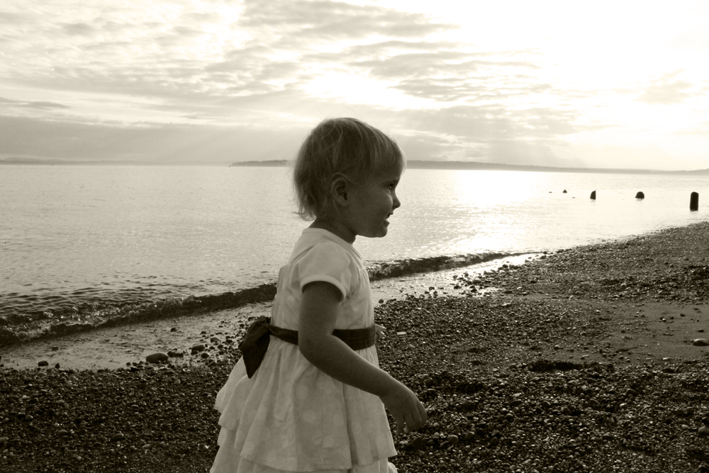 little girl in dress at beach