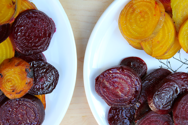 grilled golden and red beets