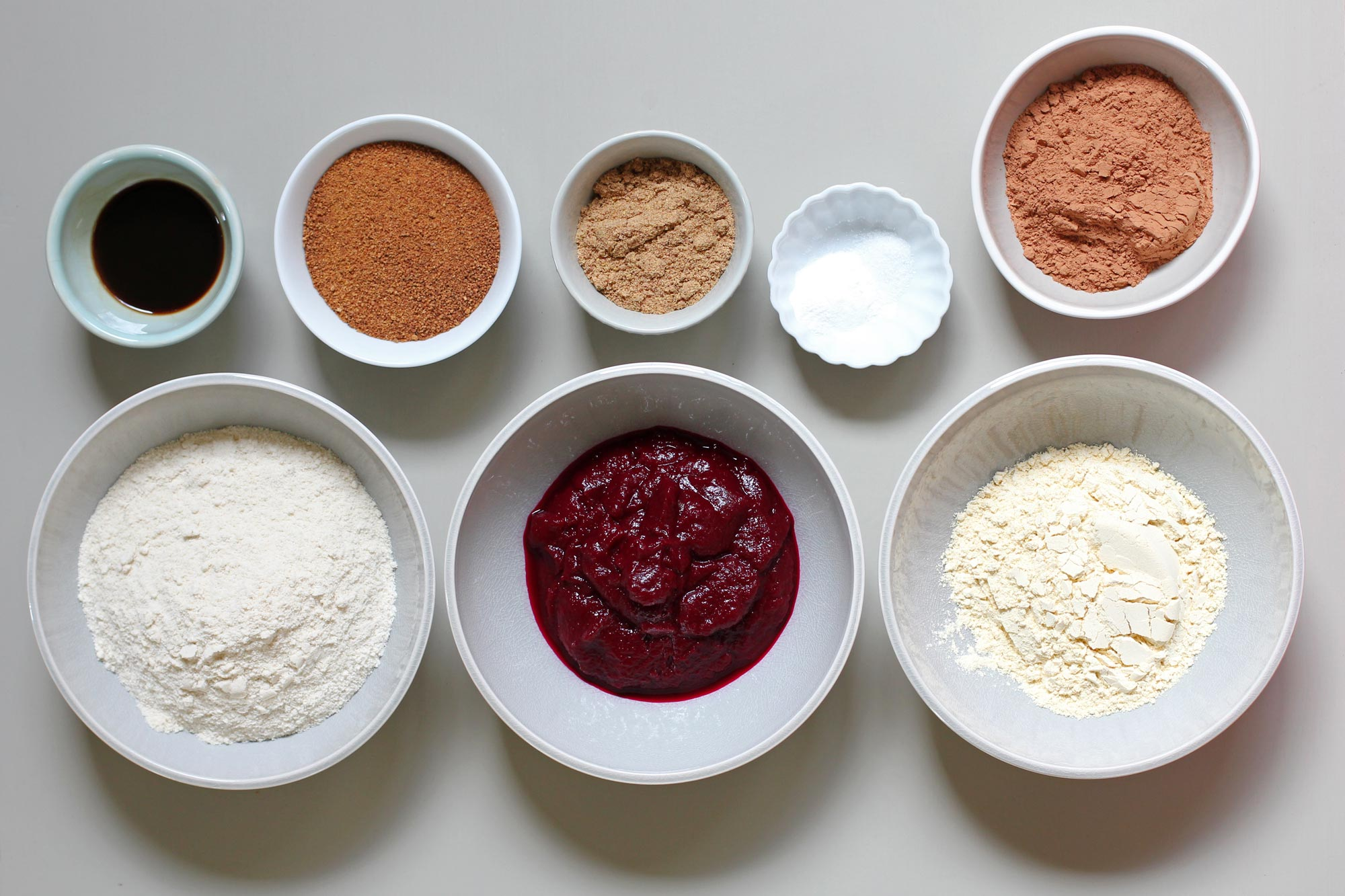 ingredients for chocolate beet cupcakes with chai frosting
