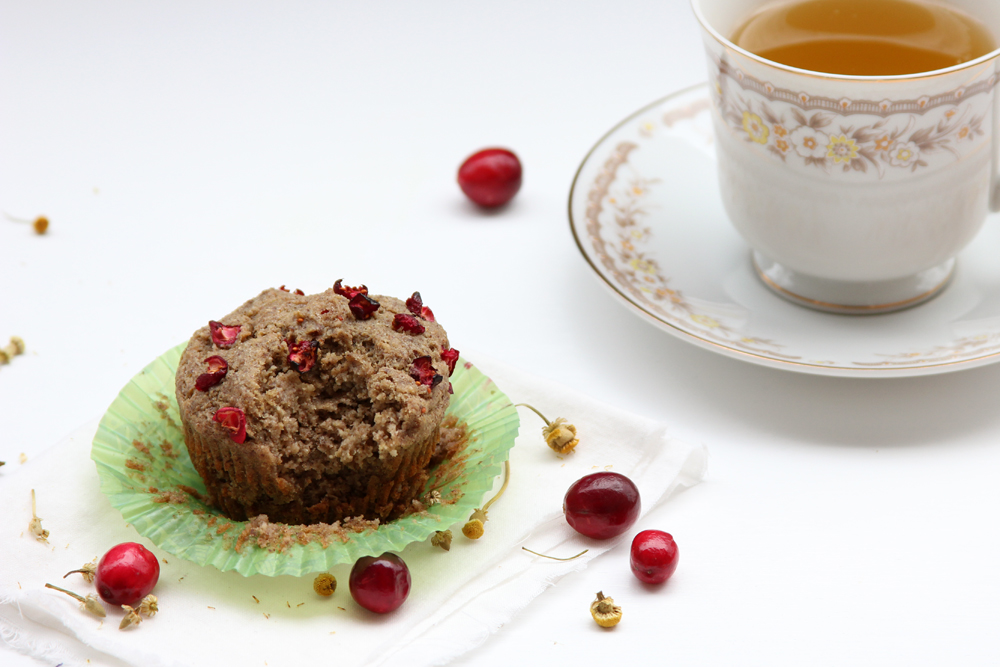 Chamomile Cranberry Muffins with tea