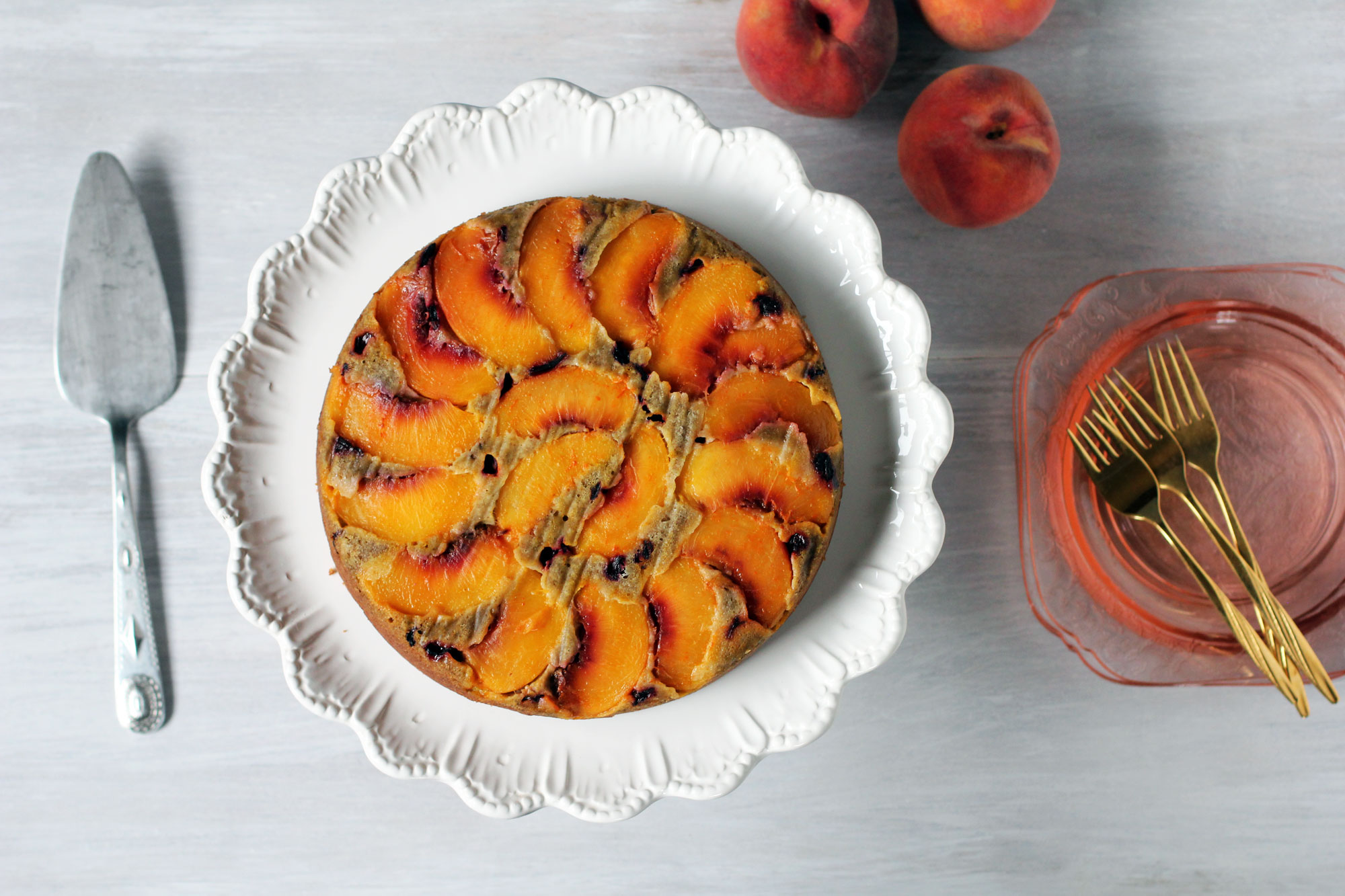 hibiscus peach upside down cake