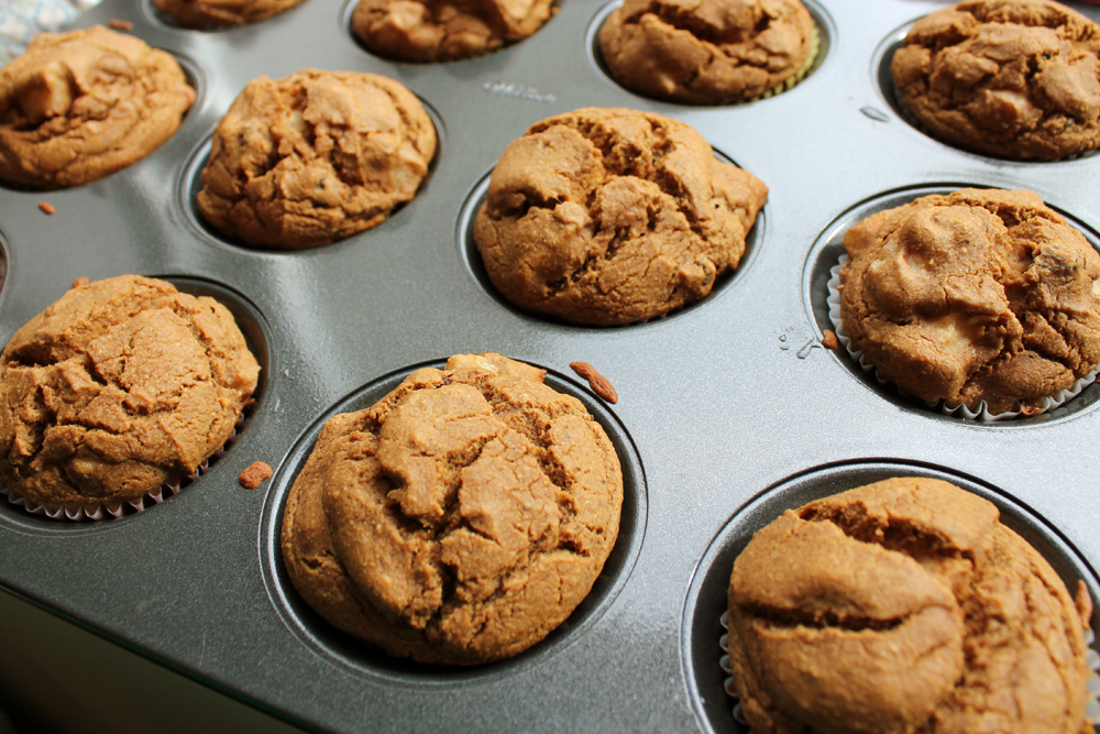 pear walnut spice muffins