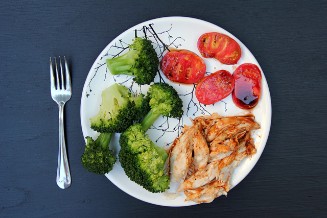 broccoli, balsamic tomatoes, roasted chicken