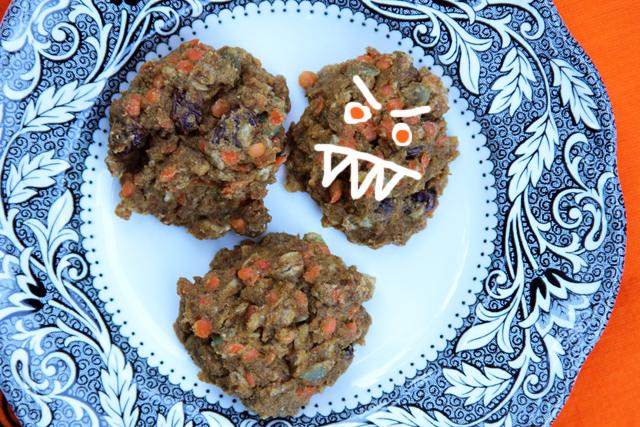 Red Lentil Pumpkin Monster Cookies