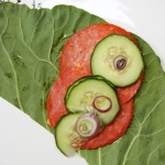 collard greens pepperoni cucumber onion wrap