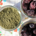 hemp protein powder with blueberries and blackberries