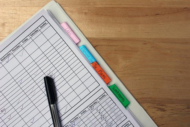 health management notebook checklist