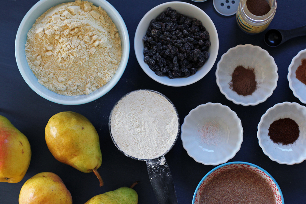 ingredients for vegan and gluten free pear spice cake