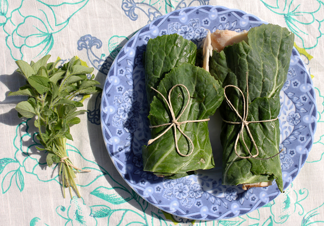 turkey collard greens oregano roll-up