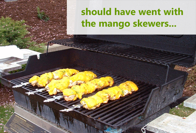 grilled mango ginger chicken skewers