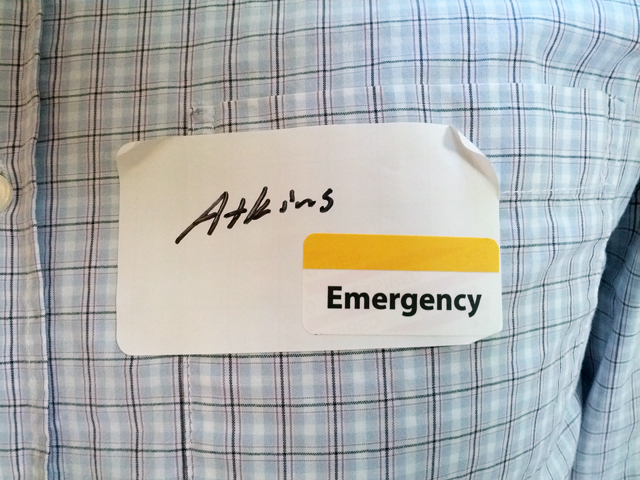 emergency room name tag
