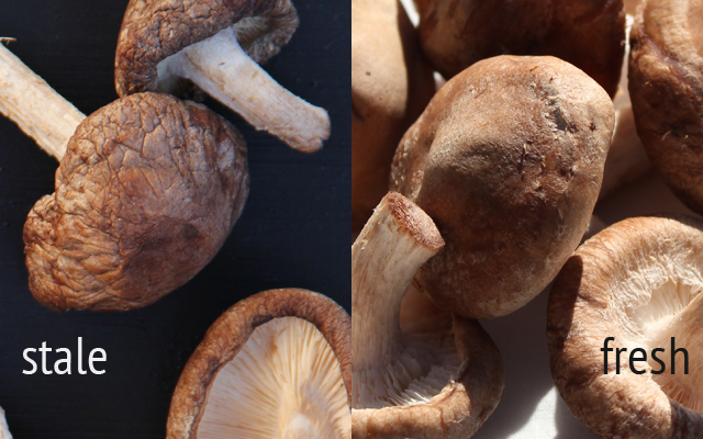 shiitake mushrooms stale and freshness comparison